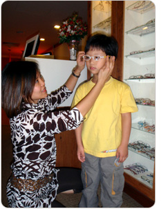 Child getting new glasse